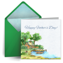 Father's Day Frog Pond card image