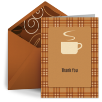 Warm Coffee Thank You card image