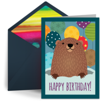 Groundhog Birthday card image
