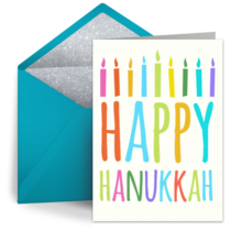 Bright Hanukkah Candles card image