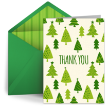 Thank You Christmas Trees card image