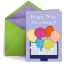 Work Anniversary Computer card image