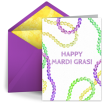 Mardi Gras Colored Beads card image