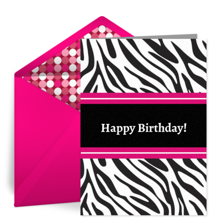 Zebra Chic Free Birthday Card For Her Happy Birthday