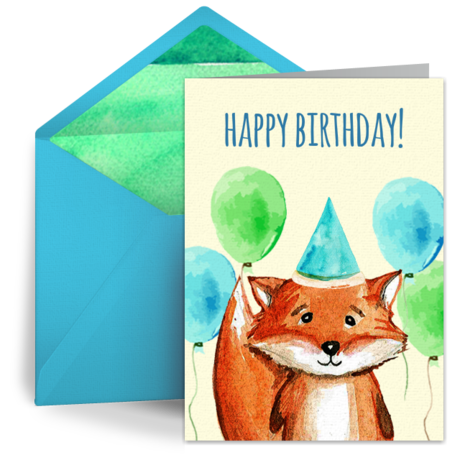 Birthday Fox Free Kids Happy Birthday Ecard Greeting Card