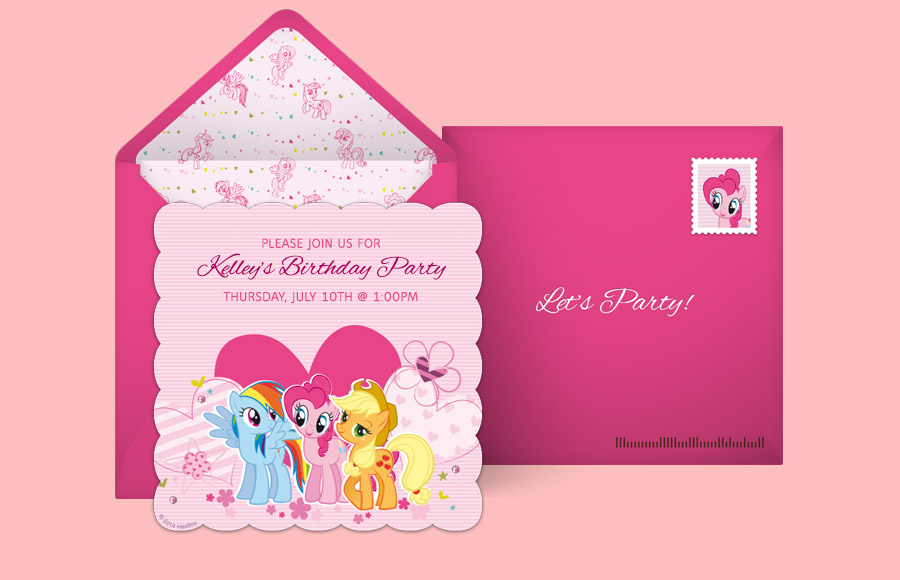 Free My Little Pony Invitations My Little Pony Online Invitations - My little pony birthday party invitation template