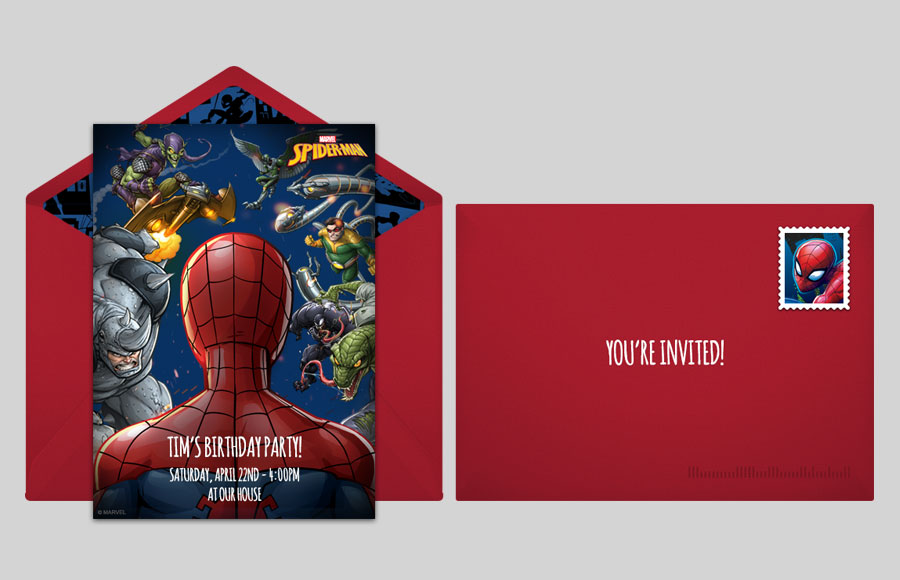 Spider man online invitations punchbowl punchbowl plan a spider man villains party stopboris Gallery